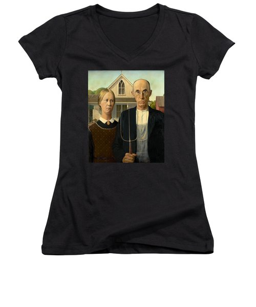 American Gothic Women's V-Neck T-Shirt (Junior Cut) by Grant Wood