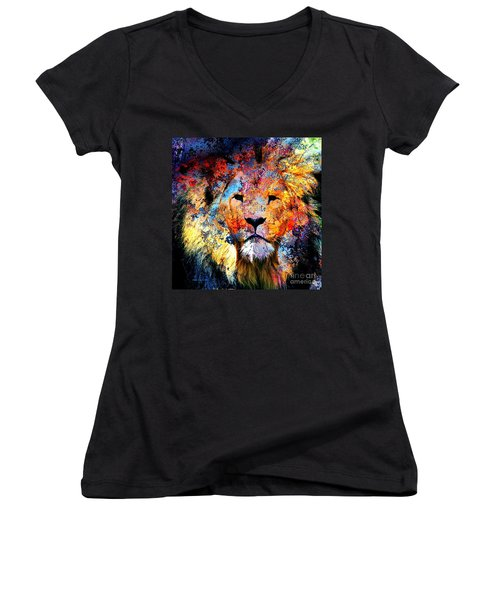 Ancient Lion King Women's V-Neck T-Shirt (Junior Cut) by Annie Zeno