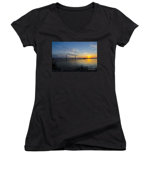 Sunset Over The Charleston Waters Women's V-Neck T-Shirt (Junior Cut) by Dale Powell