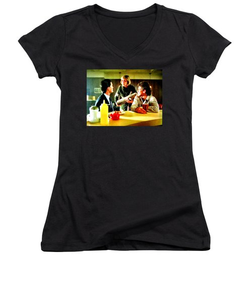 Women's V-Neck T-Shirt (Junior Cut) featuring the painting Ask It by Luis Ludzska