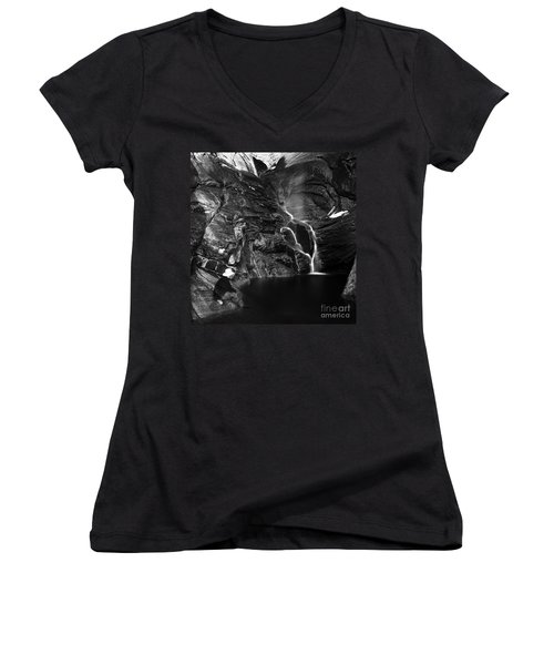 At Waters Edge Women's V-Neck T-Shirt (Junior Cut) by Christian Slanec