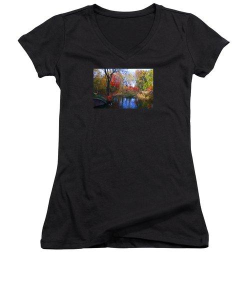 Autumn By The Creek Women's V-Neck T-Shirt (Junior Cut) by Dora Sofia Caputo Photographic Art and Design
