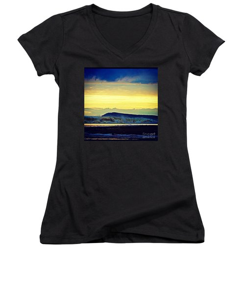 Bass Coast Women's V-Neck T-Shirt (Junior Cut) by Blair Stuart