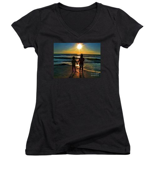 Beach Kids Women's V-Neck T-Shirt (Junior Cut) by Margie Chapman