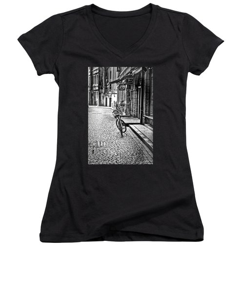 Bicycle And Sparrow 2  Women's V-Neck T-Shirt (Junior Cut) by Elf Evans