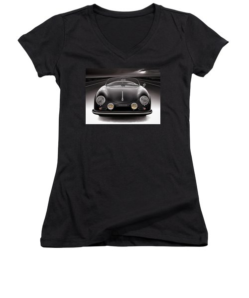 Black Speedster Women's V-Neck T-Shirt (Junior Cut) by Douglas Pittman