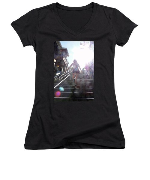 Women's V-Neck T-Shirt (Junior Cut) featuring the photograph Blink by Nick David