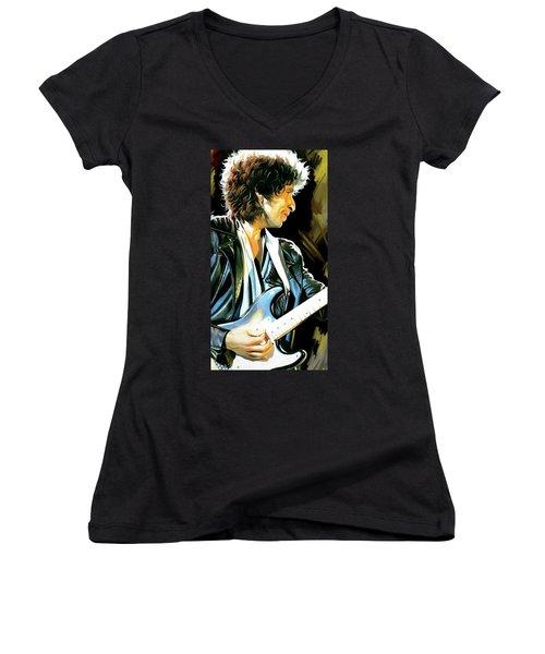 Bob Dylan Artwork 2 Women's V-Neck T-Shirt (Junior Cut) by Sheraz A