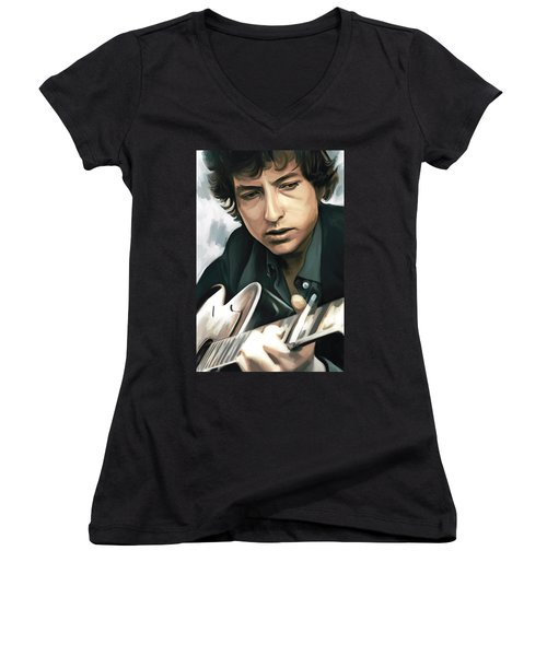 Bob Dylan Artwork Women's V-Neck T-Shirt (Junior Cut) by Sheraz A
