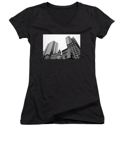 Boston Cityscape Black And White Women's V-Neck