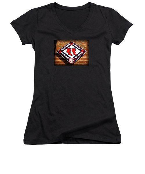 Boston Red Sox 1912 World Champions Women's V-Neck T-Shirt (Junior Cut) by Stephen Stookey