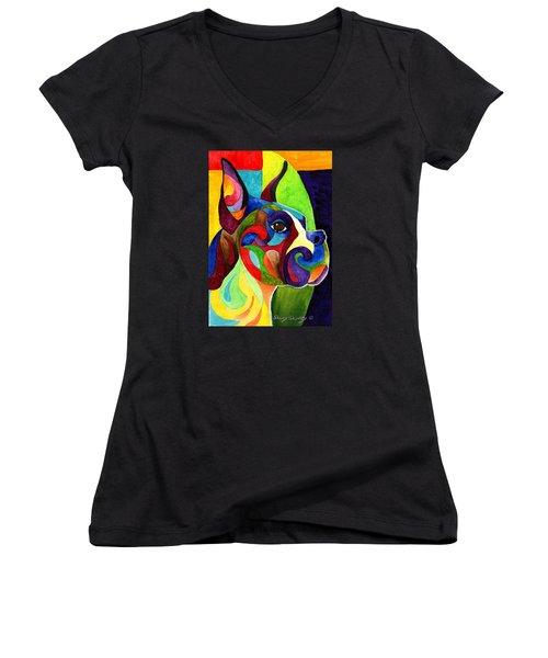 Boxer Women's V-Neck T-Shirt (Junior Cut) by Sherry Shipley
