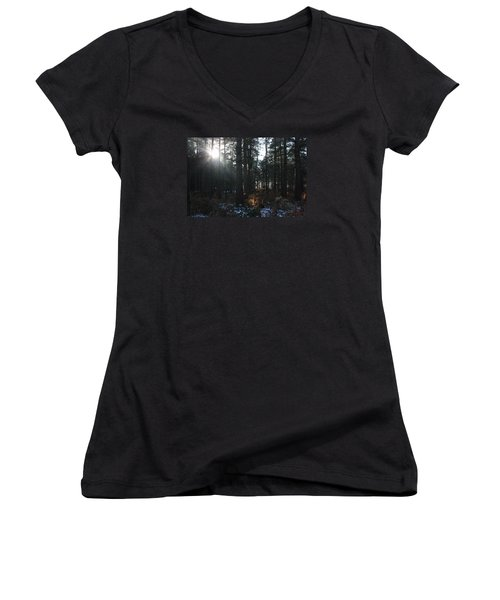 Women's V-Neck T-Shirt (Junior Cut) featuring the photograph Cannock Chase by Jean Walker