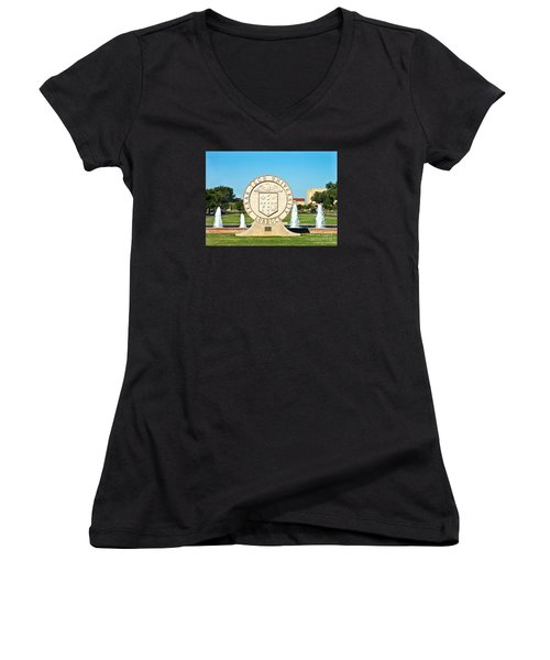 Women's V-Neck featuring the photograph Classical Image Of The Texas Tech University Seal  by Mae Wertz