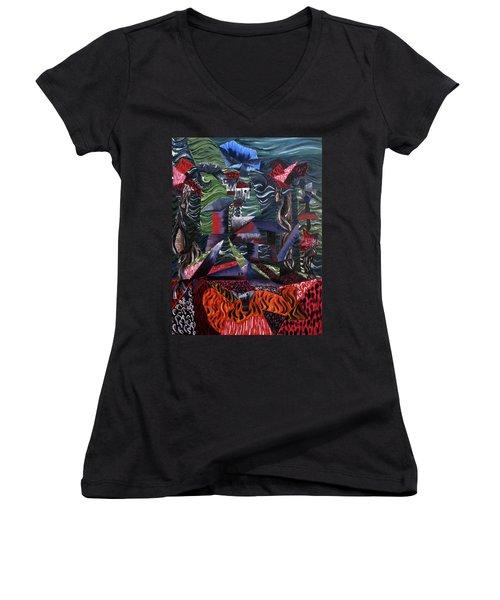 Cocytemensia Women's V-Neck T-Shirt (Junior Cut) by Ryan Demaree