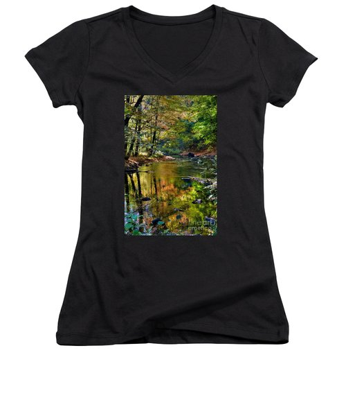 Women's V-Neck T-Shirt (Junior Cut) featuring the photograph Color Creek by Robert Pearson