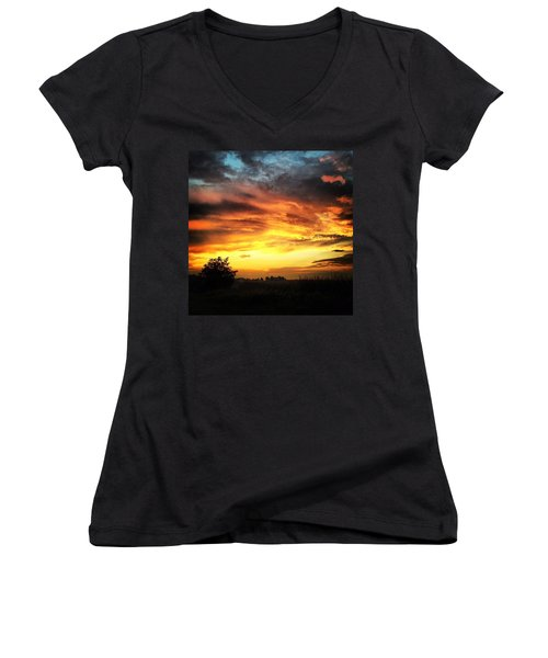 Country Scene From Hilltop To Hilltop Women's V-Neck