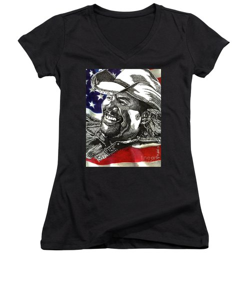Courtesy Of The Red White And Blue Women's V-Neck (Athletic Fit)