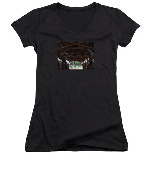 Covered Bridge Women's V-Neck T-Shirt (Junior Cut) by Catherine Gagne