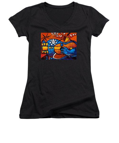 Cuatro En Grande Women's V-Neck T-Shirt (Junior Cut)