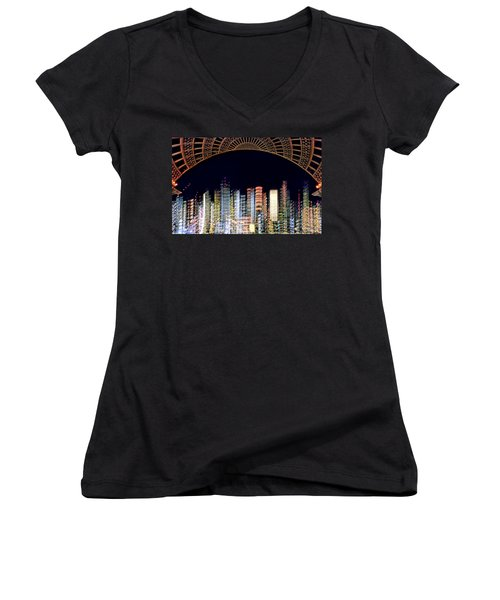 Dallas At Night Women's V-Neck T-Shirt (Junior Cut) by David Perry Lawrence