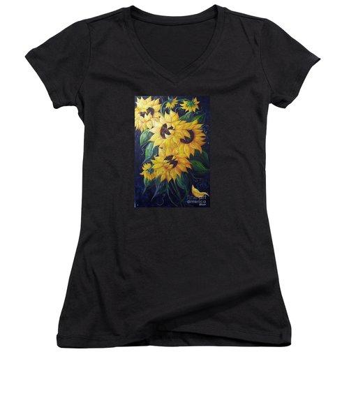 Women's V-Neck T-Shirt (Junior Cut) featuring the painting Dancing Sunflowers  by Eloise Schneider