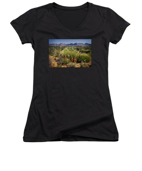 Desert Wildflowers Women's V-Neck T-Shirt (Junior Cut) by Saija  Lehtonen