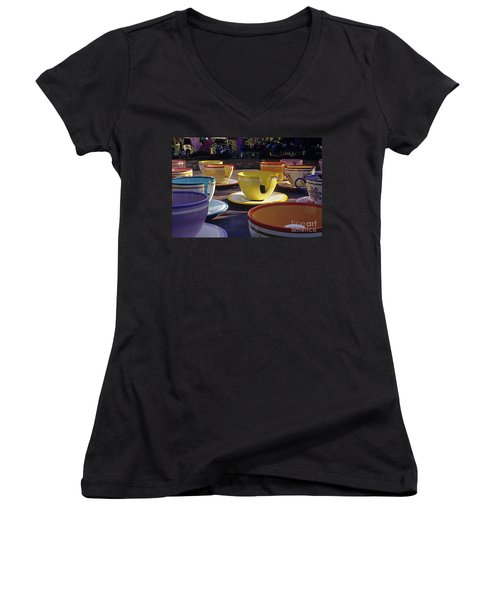Disneyland Rides Mad Tea Party Ride Anaheim California Usa Women's V-Neck T-Shirt