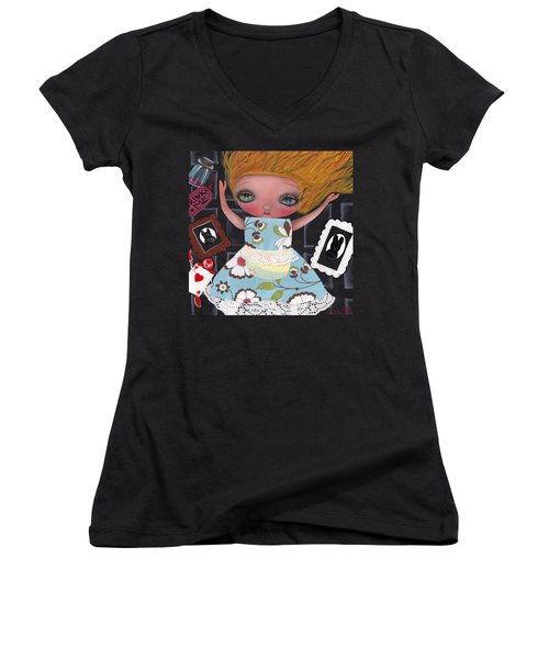 Down The Rabbit Hole Women's V-Neck T-Shirt (Junior Cut) by Abril Andrade Griffith