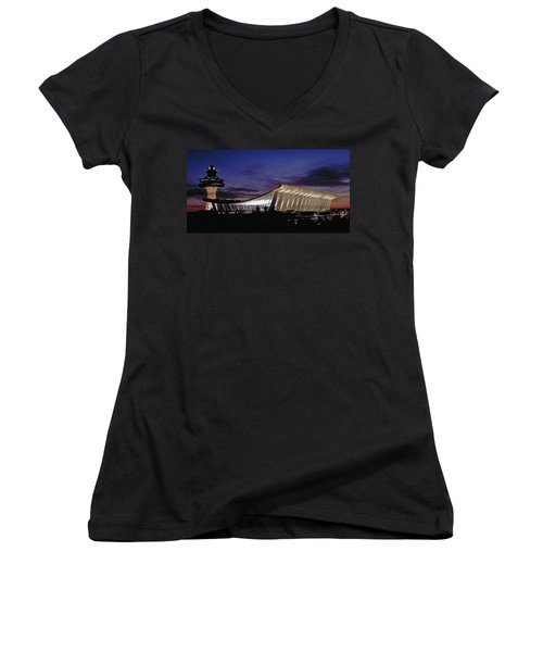 Dulles International Women's V-Neck T-Shirt (Junior Cut) by Greg Reed