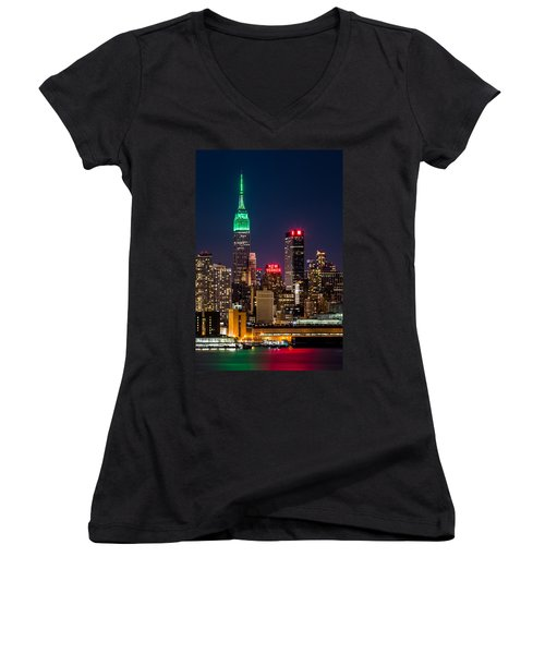 Empire State Building On Saint Patrick's Day Women's V-Neck (Athletic Fit)