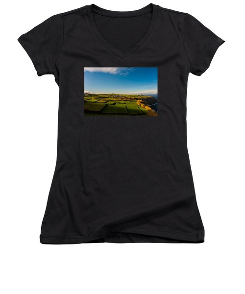 Fields Of Green And Yellow Women's V-Neck