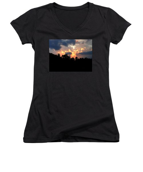 Women's V-Neck T-Shirt (Junior Cut) featuring the photograph Fire In The Sky by Craig T Burgwardt