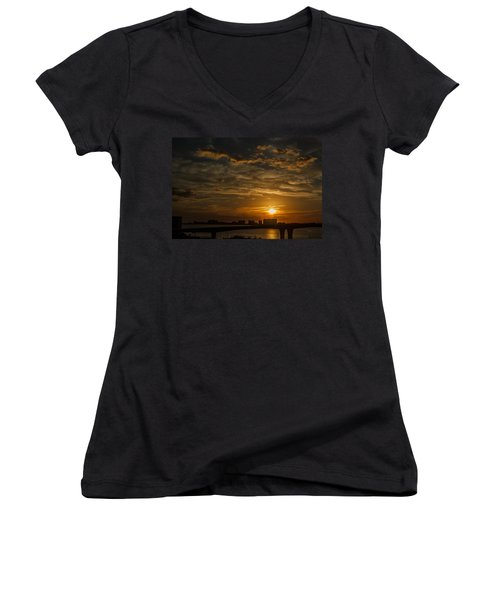 Women's V-Neck T-Shirt (Junior Cut) featuring the photograph Florida Sunset by Jane Luxton