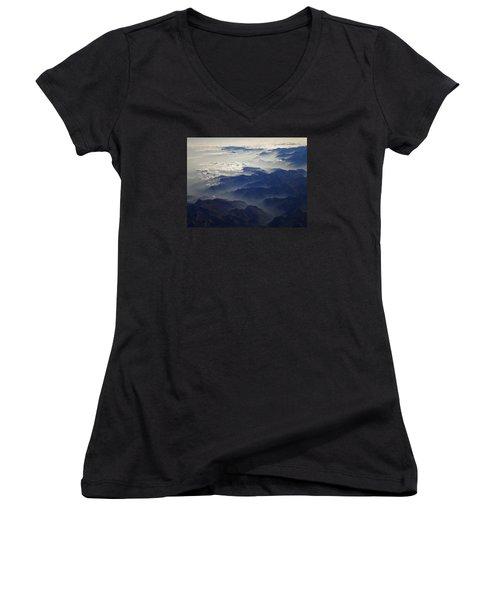 Flying Over The Alps In Europe Women's V-Neck T-Shirt (Junior Cut) by Colette V Hera  Guggenheim