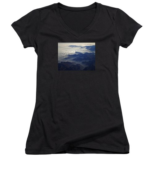 Flying Over The Alps In Europe Women's V-Neck