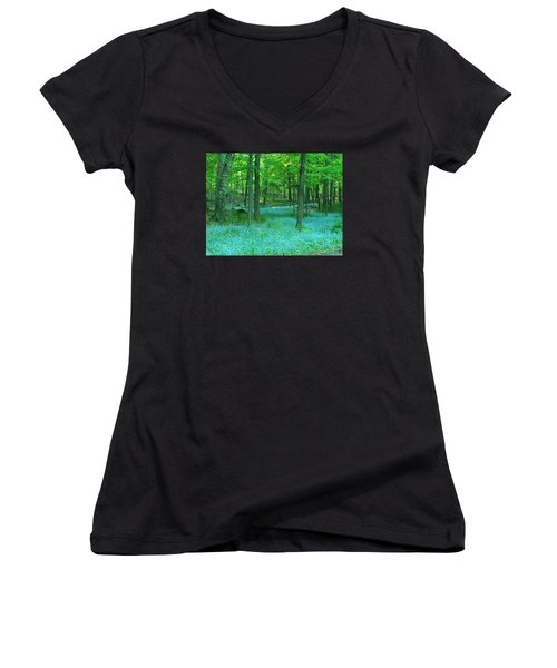 Forget-me-nots In Peninsula State Park Women's V-Neck T-Shirt (Junior Cut) by David T Wilkinson
