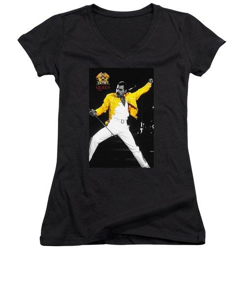 Freddie Mercury Live In Wembley1986    Women's V-Neck (Athletic Fit)
