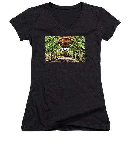 Women's V-Neck T-Shirt (Junior Cut) featuring the painting Garden by Muhie Kanawati
