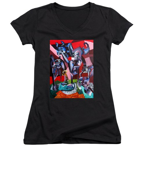 Gaungian Dimensional Women's V-Neck T-Shirt (Junior Cut) by Ryan Demaree