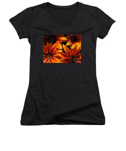 Gazania Named Kiss Orange Flame Women's V-Neck T-Shirt (Junior Cut) by J McCombie