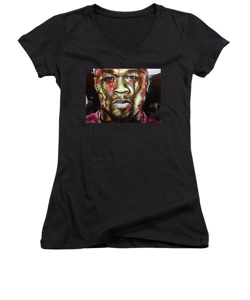 Women's V-Neck T-Shirt (Junior Cut) featuring the painting Get Rich Or Die Tryin' by Laur Iduc