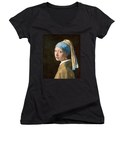 Girl With A Pearl Earring Women's V-Neck