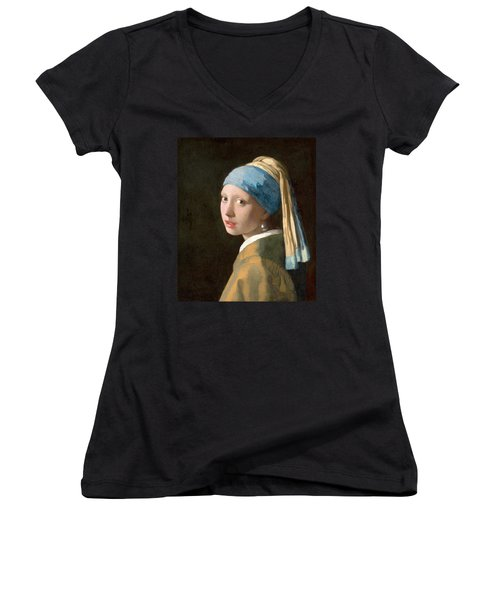 Girl With A Pearl Earring Women's V-Neck (Athletic Fit)