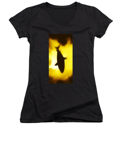 Sea Women's V-Neck T-Shirt (Junior Cut) featuring the digital art Great White  by Aaron Berg
