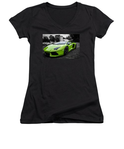 Green Aventador Women's V-Neck T-Shirt (Junior Cut) by Matt Malloy