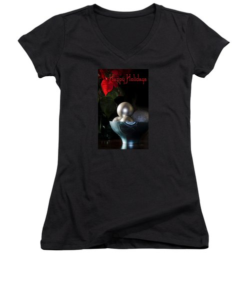 Happy Holidays Greeting Card Women's V-Neck T-Shirt (Junior Cut) by Julie Palencia