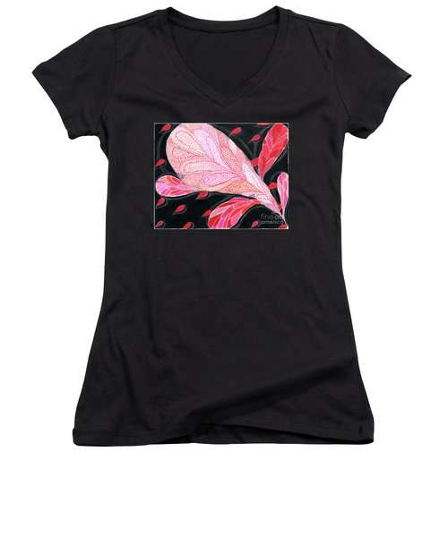 Women's V-Neck T-Shirt (Junior Cut) featuring the drawing Heartpods by Kim Sy Ok