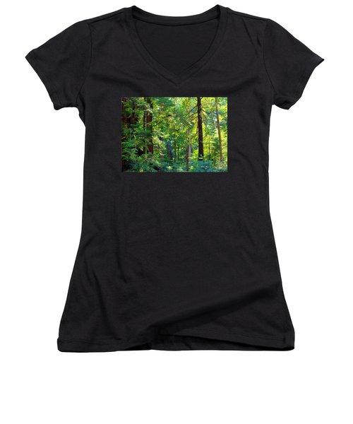 Hoh Rain Forest Women's V-Neck T-Shirt (Junior Cut) by Jeanette C Landstrom