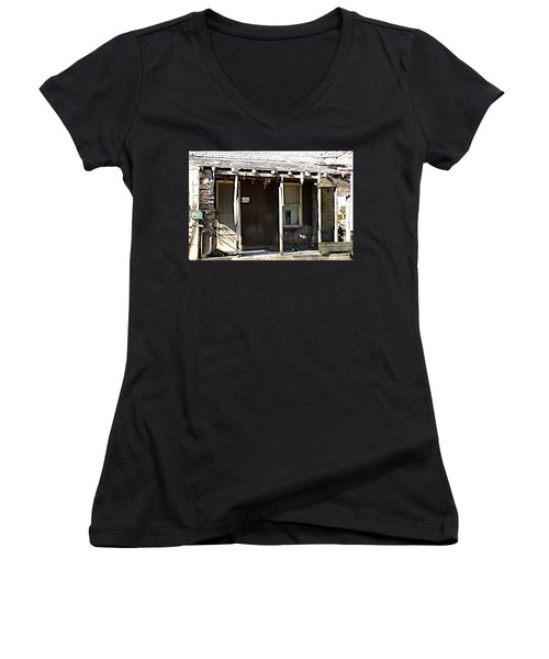 Home Women's V-Neck T-Shirt (Junior Cut) by Joseph Yarbrough